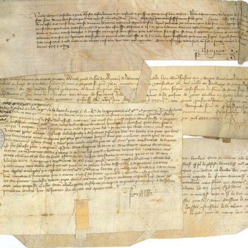 *CHARTES. Environ 85 pièces sur vélin (2 sur papier), XVe siècle, la plupart ave…