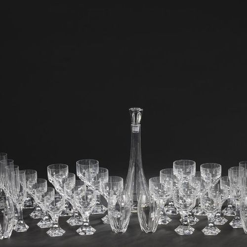 """BACCARAT. Serving part of straight ribbed cut crystal glasses model """"Mercury"""". I…"""