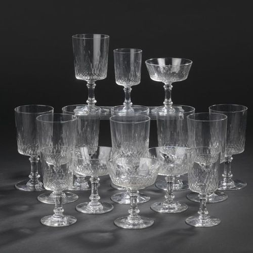 """BACCARAT. Glass service part in cut crystal """"Champigny"""" model with honeycomb dec…"""