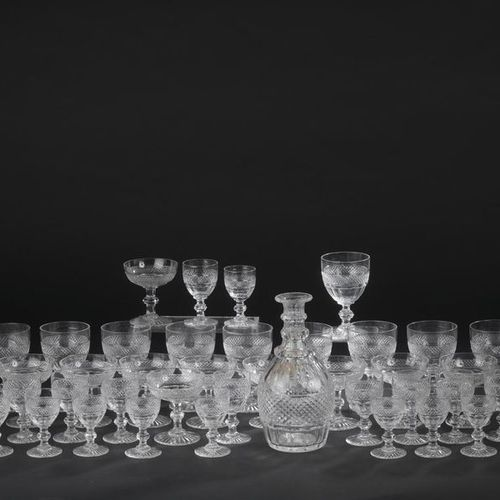 "SAINT LOUIS. Serving part of glasses with cut crystal feet model ""Trianon"". It i…"