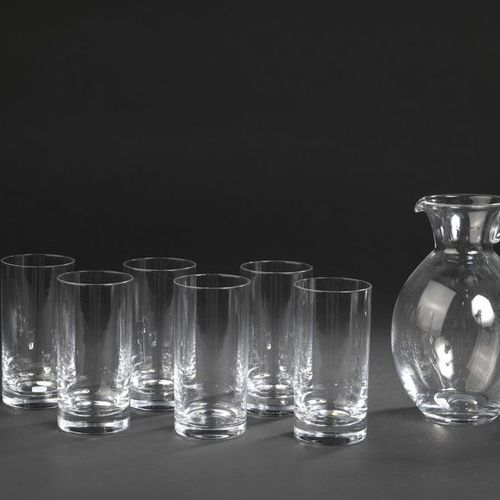 DAUM France. Set of six crystal orangeade glasses. Signed at the tip at the base…