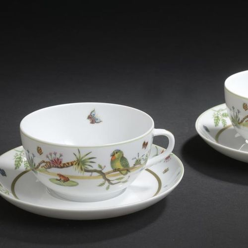 "LIMOGES, HAVILAND. Teacup set model ""Le Bestiaire"" including two tea cups and th…"