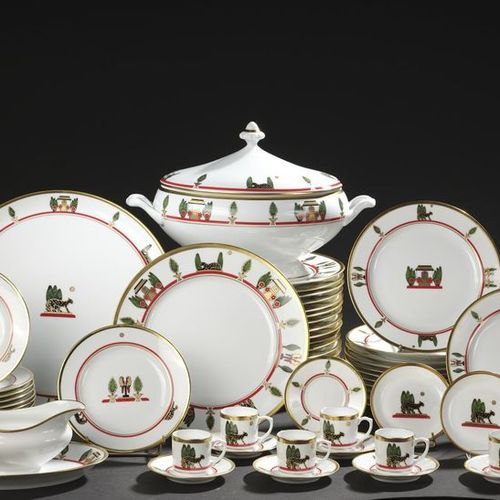 """LIMOGES for CARTIER. White porcelain """"Maison de Louis"""" model dinner service part…"""