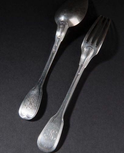 Seven place settings and one dessert spoon in silver, net design, monogrammed. M…