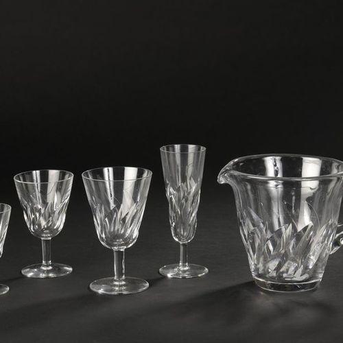 "SAINT LOUIS. Serving part of crystal glasses model ""Bidasoa"". It consists of: tw…"