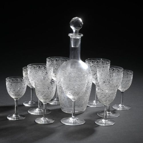 """BACCARAT. Serving part of crystal glasses model """"Combourg"""" with engraved decorat…"""
