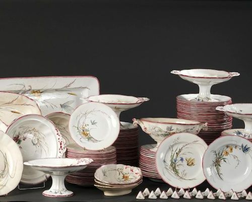 "SARREGUEMINES. Earthenware dinner service part model ""Butterfly"" with birds deco…"