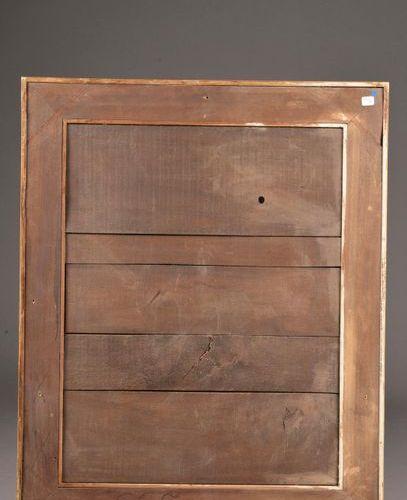 Miroir à parecloses en bois stuqué doré à décor de rang de perles, frise de feui…
