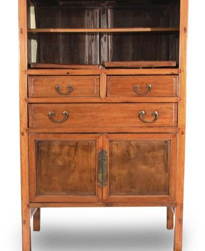 A TWO DOOR AND THREE DRAWER HARDWOOD CABINET, China 162 x 101 x 50cm