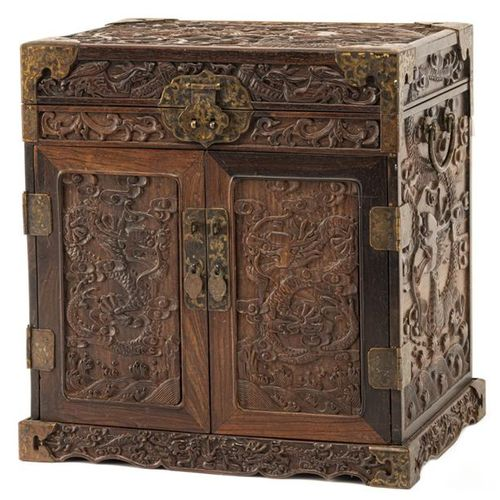 A SMALL HARDWOOD CABINET WITH DRAWERS, China 37 x 35 x 26 cm