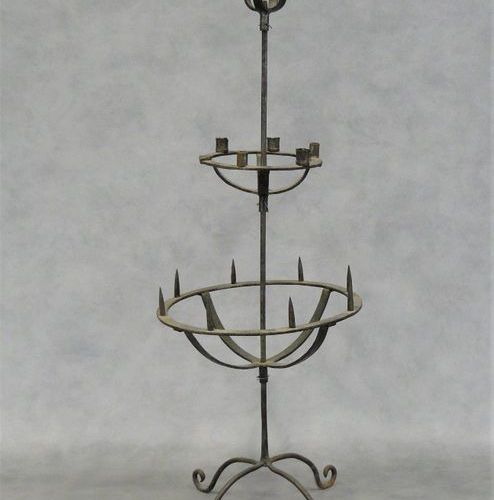 An old wrought iron three shelf candle pick with 17 lights H 95,5 cm