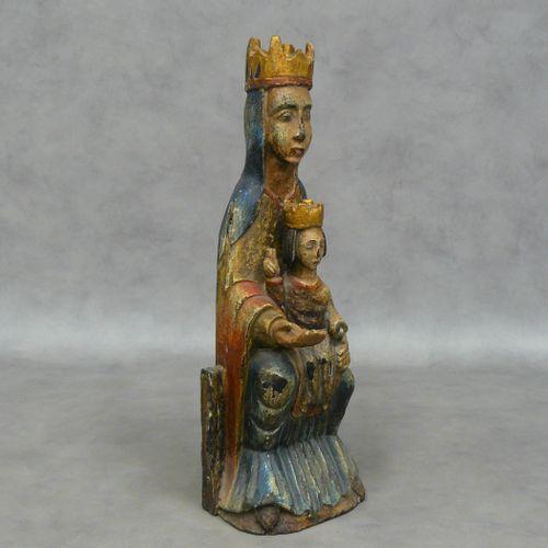 Vierge à l'enfant, statue en bois polychrome début 20ème H 45,5 cm