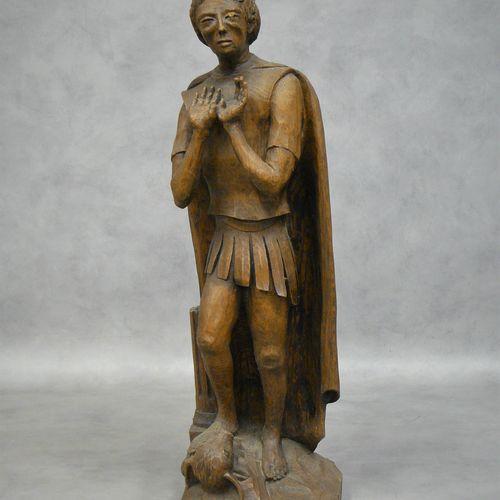 E. THINEY E. THINEY : personnage foulant le taureau, statue en chêne sculpté H 5…