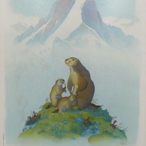 SAMIVEL SAMIVEL (d'après) : une affiche, le parc national de la Vanoise. Mythra …
