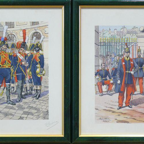 Pierre LEROUX Pierre LEROUX : deux estampes à sujets militaires signée en bas à …