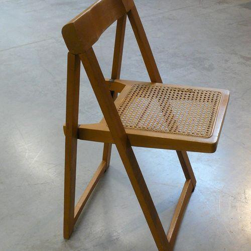 Aldo JACOBER Aldo JACOBER (né en 1939): chaise pliante, l'assise cannée, estampé…