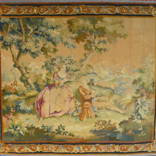 AUBUSSON une tapisserie d'Aubusson fin 19ème début 20ème, scène galante à la cag…