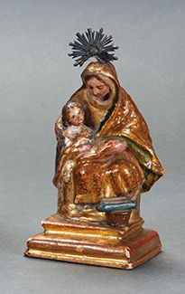 """ANDALUSIAN SCHOOL S. XVIII """"The education of the Virgin"""" Sculpture in carved, gi…"""