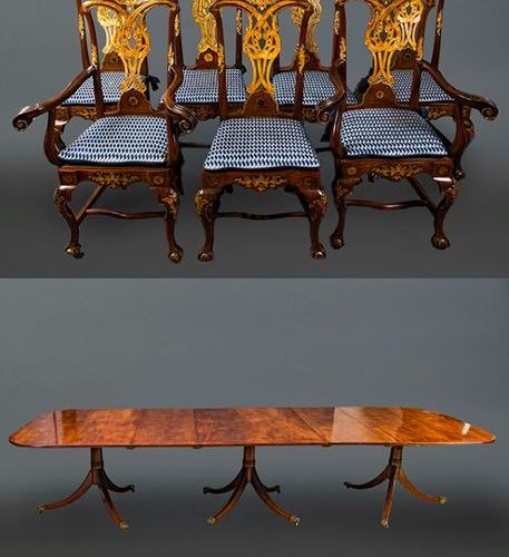 Dining room set consisting of: large Georgian style dining table, extendable, wi…