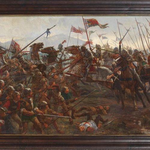 """ÉCOLE D'ANGLAIS """"Bataille"""" du XIXe siècle Huile sur toile. Dimensions : 65 x 122…"""