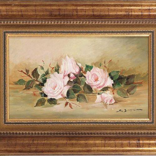 """SUSY DE GALÁN S. XX """"Roses"""" Huile sur toile. Signé dans le coin inférieur droit …"""