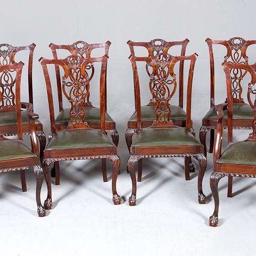 Lot composé de deux fauteuils et six chaises style Chippendale, ff. S. 19E SIÈCL…