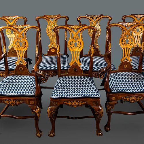 Chaises espagnoles d'influence chippendale, XVIIIe siècle avec rocailles et déta…