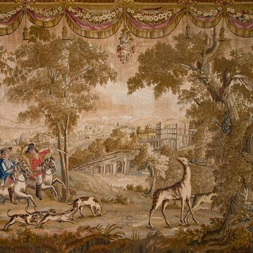 """Aubusson"""" tapestry in wool, Louis XVI period. France, c.1780. It represents a hu…"""