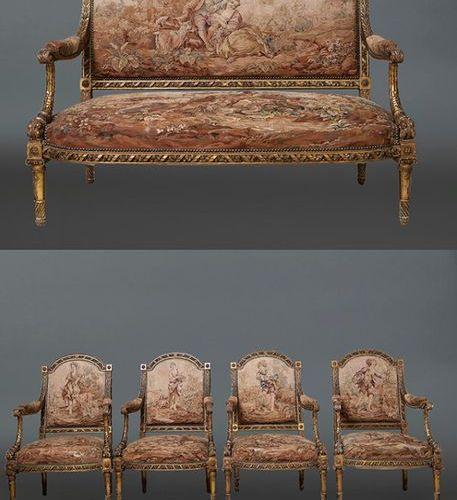 """Importants fauteuils Louis XVI à garniture """"Aubusson"""" composés d'un canapé et de…"""