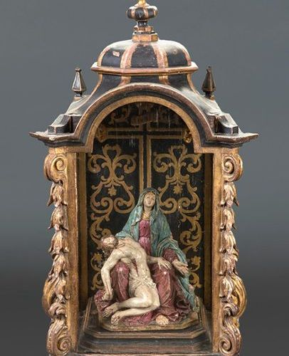"""ÉCOLE SEVILLANA, """"Piedad"""" du XVIIIe siècle Délicate sculpture en terre cuite ave…"""