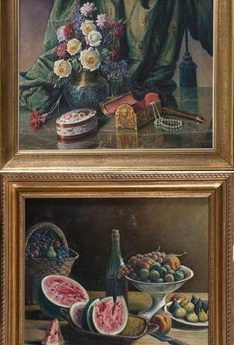 """ÉCOLE ESPAGNOLE S. XX """"Nature morte"""" 1948 Paire de peintures à l'huile sur toile…"""