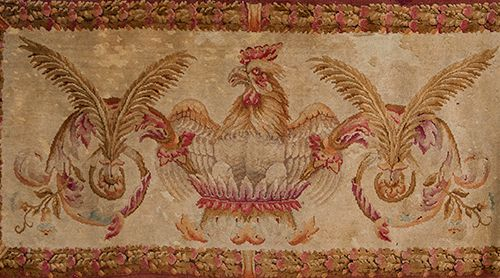 Antique wool rug with decoration of rooster and palms and flower border. Measure…