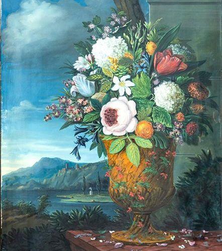 """JAN FRANS VAN DAEL (1764 1840) """"Verre avec des fleurs sur un piédestal avec un p…"""