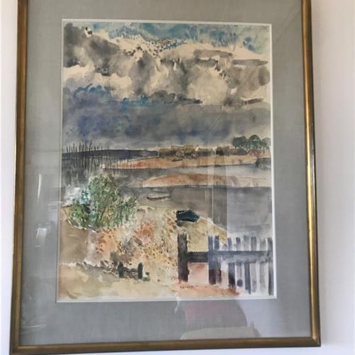 Guy BARDONE (1927 2015)  The Arcachon basin  Watercolor signed below in the cent…