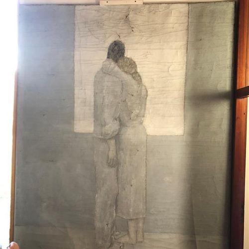 Noël Emile LAURENT (XXth)  The couple  Oil on canvas  240 x 198 cm  (Numerous ac…
