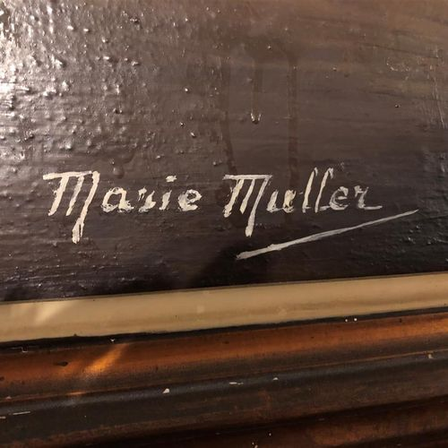 Marie MULLER  Lilac basket  Oil on canvas signed lower left  63 x 90,5 cm