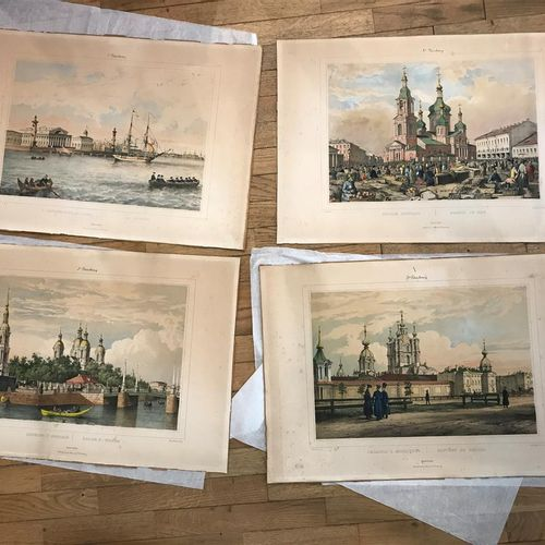Series of four enhanced engravings depicting views of St. Petersburg