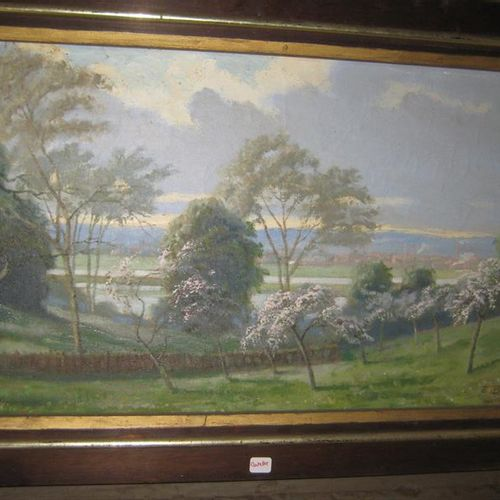 Emile BOULARD (1863 1943)  Cherry blossom landscape  Oil on canvas  Signed E.BOU…