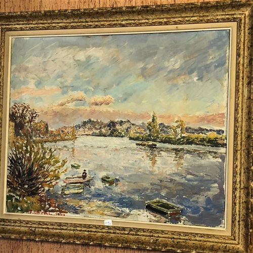 T F LAVAL  Boat on the water  Oil on canvas signed lower left.  52,5 x 62,5 cm