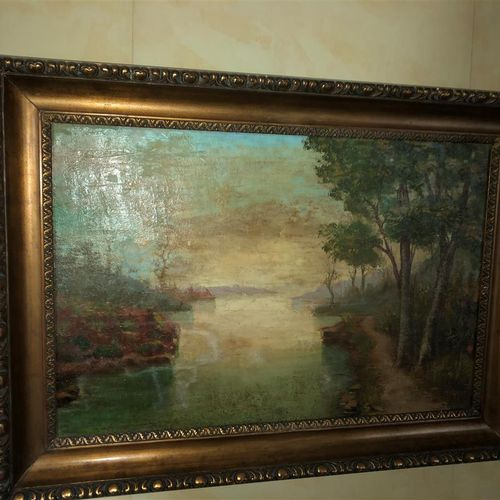 School end of XIXth beginning of XXth century.  Lake landscape  Oil on canvas mo…