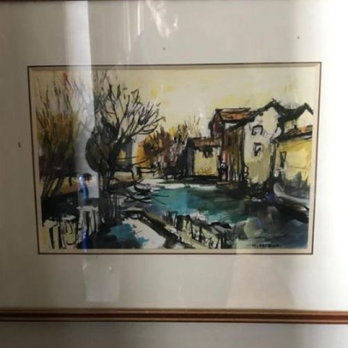Maurice VERDIER  The mill  Gouache on paper signed lower right and titled on the…