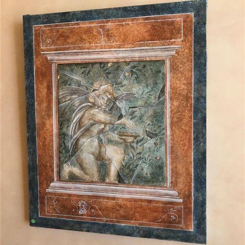 Two decorative canvases in Roman taste, in trompe l'oeil.  61 x 49,5 cm