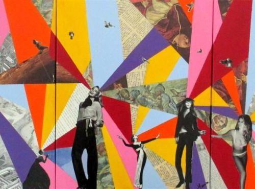 MAURICE Just like flowers, 2016 Acrylique et collage sur toile, signée en bas à …