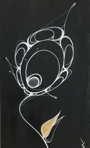 PANPAN ATD, 2018 Tracé au posca blanc sur toile de lin avec une feuille d'or, si…