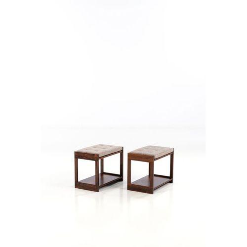 Grete Jalk (1920 2006)  Paire de tabourets ou tables d'appoint  Palissandre et t…