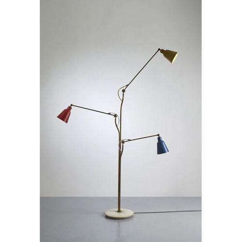 Angelo Lelii (1915 1987)  Floor lamp  Brass, cast aluminum and metal  Arredoluce…