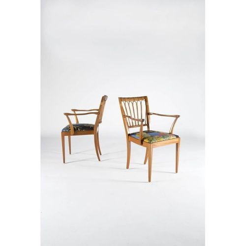 Josef Frank (1885 1967)  Model 1165  Pair of armchairs  Mahogany and rattan  Sve…