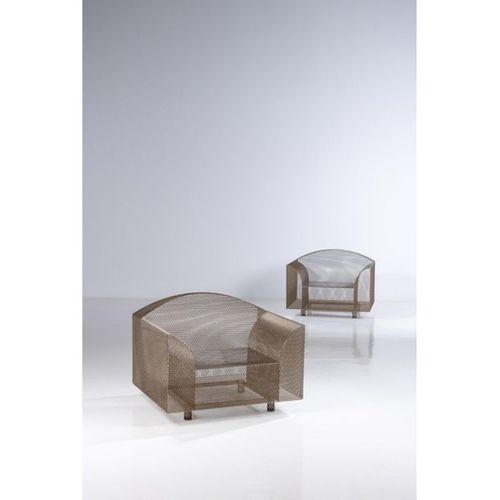 Shiro Kuramata (1934 1991)  How High The Moon  Pair of armchairs  Nickel plated …