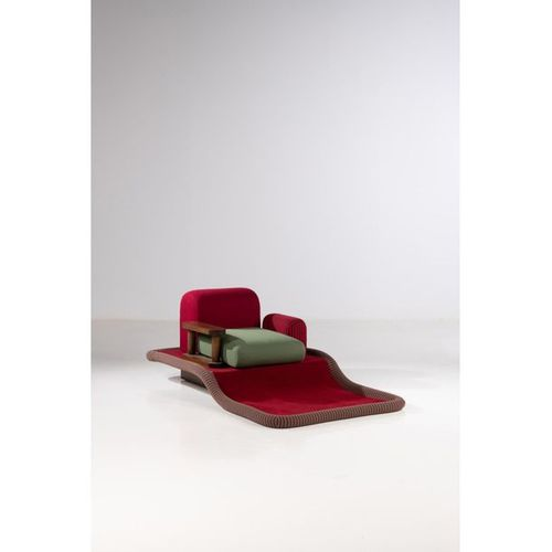 Ettore Sottsass (1917 2007)  Tappeto Volante  Armchair  Fruitwood, fabric and ve…