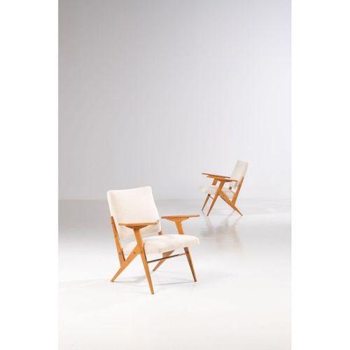 José Zanine Caldas (1919 2001)  Pair of armchairs  Peroba wood and fabric  Movei…